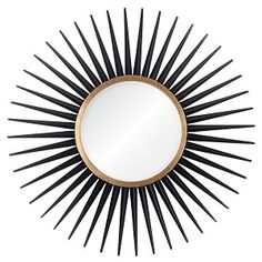 Give your home or office a new look with this great Abbyson Living mirror. Resembling a sun, this round wall mirror offers a stately black and gold design. Sun Mirror, Round Wall Mirror, Black Mirror, Round Mirrors, Beveled Mirror, Magic Mirror, Wall Mirrors, Entry Mirror, Mirror Vanity