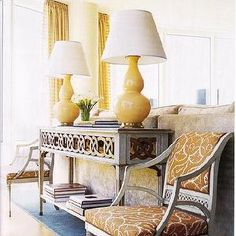 House Beautiful - living rooms - yellow and gray living room, yellow lamps, yellow table lamp, yellow gourd lamp, gray console table,  Yellow