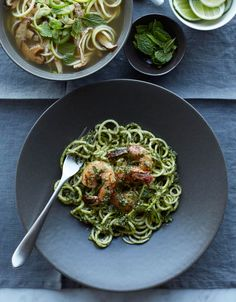 Zucchini Noodles and Shrimp with Almond Herb Pesto