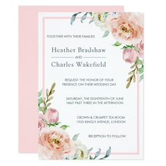 Shop Pretty Pastel Pink Watercolor Floral Wedding Invitation created by Uniquely_Giftable. Wedding Pins, Wedding Flowers, Wedding Day, Wedding Suite, Wedding Table, Wedding Blog, Summer Wedding, Lace Wedding, Wedding Dresses