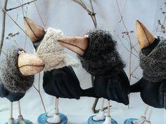 Halloween Doll, Halloween Crafts, Wet Felting, Needle Felting, Jar Art, Creative Textiles, Monster Dolls, Felt Birds, Fabric Birds