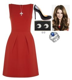 """""""Royal Tour of the US and Canada: Attending a French Fashion and Food Fair"""" by fashion-royalty ❤ liked on Polyvore featuring Roland Mouret, Christian Louboutin, Blue Nile and Roberto Coin"""