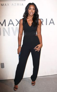 Kelly Rowland looks sleek in a BCBG jumpsuit while attending the designer's Los Angeles resort 2016 show.