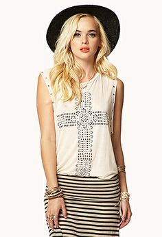 Bohemian Cross Muscle Tee | FOREVER21 - 2051215226