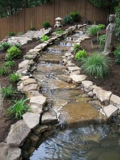 Garden Landscaping Water Features Would love something like under the downspout.Garden Landscaping Water Features Would love something like under the downspout. Backyard Water Feature, Ponds Backyard, Backyard Ideas, Pond Ideas, Backyard Stream, Garden Stream, Small Garden Ponds, Cool Garden Ideas, Diy Water Feature
