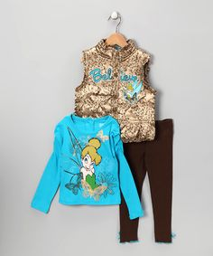Take a look at this Gold & Blue 'Believe' Woven Vest Set - Toddler by Disney on #zulily today!