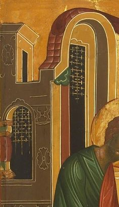 Detailed view: V071. Saint Luke- exhibited at the Temple Gallery, specialists in Russian icons