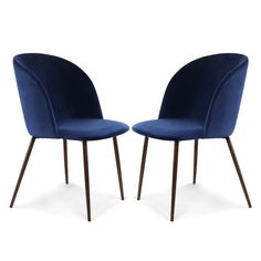 Poly and Bark Kantwell Space Blue Velvet Dining Chair (Set of Blue/Walnut Dining Chair Covers, Dining Chair Set, Chair Upholstery, Upholstered Dining Chairs, Chair Cushions, Swivel Chair, Overstock Dining Chairs, Fabric Dining Chairs, Chair Pads