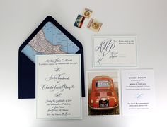 Travel Inspired Wedding Invitations by Ruby the Fox, calligraphy by Molly Jacques http://rubythefox.com/  http://www.mollyjacquesillustration.com/