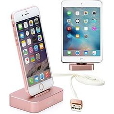 Apple iPhone/iPad Mini Charger Stand, Lecxci [Stable Pure Aluminum Rose Gold iPhone / iPad Mini Charging Desktop] Dock Cradle [Docking Station] for iphone 6s / 6 Plus / 5s / 5 / iPad Mini 1 2 3 4