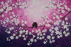 Birds art Abstract painting birds in tree branch by QiQiGallery