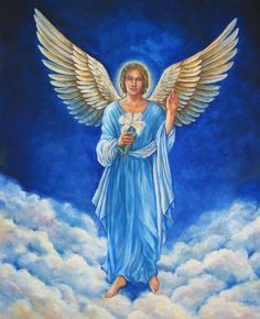 """abriel's name means """"God is my strength."""" Gabriel (who is female) is the famous angel who told Elizabeth and Mary of the impending births of their sons, John the Baptist and Jesus of Nazareth, respectively. Angel Protector, Saint Gabriel, I Believe In Angels, Your Guardian Angel, Angels Among Us, Angel Pictures, Angels In Heaven, Heavenly Angels, Angel Art"""
