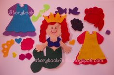 Storybook Felts Felt My Little Mermaid Princess Doll Dress Up Set  22 PCS Made To Order ~ felt paper dolls! what a great idea!