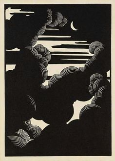 relief printmaking Wolken Woodcut by Flix Vallotton, simple and beautiful Gravure Illustration, Illustration Art, Inspiration Art, Art Inspo, Linocut Prints, Art Prints, Block Prints, Woodcut Art, Linoprint