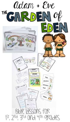 The Garden of Eden Bible Lessons for Sunday School and Christian Schools.  Easy to prep lessons and crafts about the story of Adam and Eve - sin and forgiveness