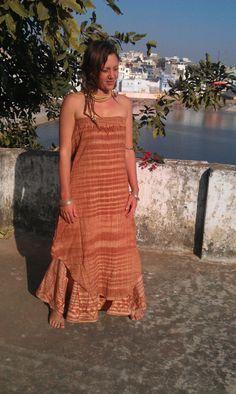 Khadi jurk strapless, Khadi jurk, lange jurk, zomerjurk, handgeweven katoen, Hippie jurk, Indiase kleding, katoenen jurk, natuurlijke mode
