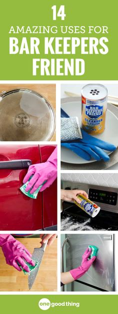 Barkeeper's Friend isn't your average scouring cleaner! Using it is like knowing a magic trick that can make even the most notoriously stubborn messes disappear! Check out these 14 brilliant uses for Barkeeper's Friend. Deep Cleaning Tips, House Cleaning Tips, Cleaning Solutions, Spring Cleaning, Cleaning Hacks, Diy Hacks, Cleaning Products, Bar Keepers Friend, Homemade Toilet Cleaner