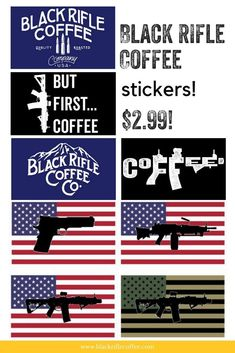 "Black Rifle Coffee Company - We have TONS of stickers and only $2.99! Weatherproof & 6""x4""! #BlackRifleCoffee #AmericasCoffee"