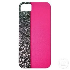 Black & pink glitter iphone cover iPhone 5 cover