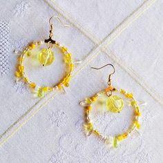 Happy yellow hoops Crochet Earrings, Yellow, Happy, Jewelry, Jewlery, Jewerly, Schmuck, Ser Feliz, Jewels