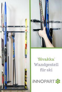 Der Sivakka SM Wandhalter kann 8 Paar Langlaufski oder vier Paar Alpinski halten.   Das Modell beinhaltet eine Halterung unten, eine die Ski umschließende Befestigung oben sowie einen Aufhänger für die Skisstöcke.   Sivakka SM ist aus pulverbeschichtetem und elektro-galvanisch verzinktem Stahl hergestellt. Deshalb kann der Skihalter sowohl drinnen als auch draußen verwendet werden.   Die geschlossene obere Haltung hält den Ski auch bei windigen Bedingungen in Position. Skiing, Galvanized Steel, Finland, Indoor, Basement, Ski
