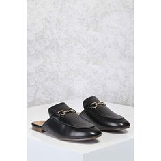 83cd3dbe77a Forever21 Faux Leather Loafer Mules ( 38) ❤ liked on Polyvore featuring  shoes