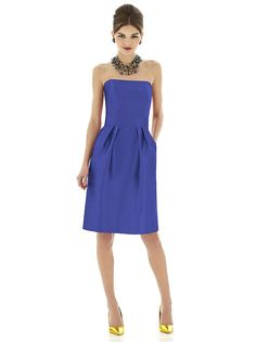 Cocktail length strapless peau de soie dress w. shaped inset midriff and pleated skirt. Pockets at side seams of skirt.   http://www.dessy.com/dresses/bridesmaid/d616/
