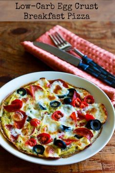 Low-Carb Egg-Crust Breakfast Pizza with Pepperoni, Olives, Mozzarella, and Tomatoes [KalynsKitchen.com]