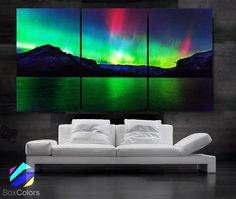LARGE 3 Panels Art Canvas Print Beautiful Aurora skyline Nature Wall Home (Included framed depth) Artwork For Living Room, Custom Wall Murals, White Wall Decor, Thing 1, Football Pictures, White City, Sky Art, Panel Art, Beautiful Images