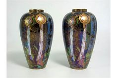 "Pair of Wedgwood Fairyland Lustre Vases (8"" high). Z5157 pattern - one restored."