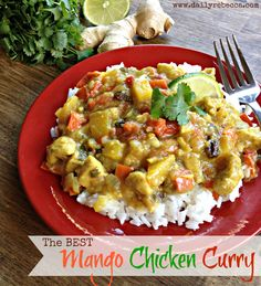 Shauna Niequist's Mango Chicken Curry. Super delicious and not too spicy. (Not spicy enough for me, but good for the kids!)