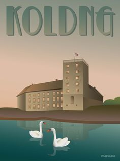 The castle is in the very centre of Kolding looking out across the lake in front. Buy the poster here! Travel Illustration, Graphic Illustration, Blue Poster, Illustrations And Posters, Vintage Illustrations, Art Posters, Copenhagen Denmark, European History, My Heritage