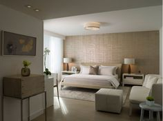 Bedroom Design with White and Tan Bedding