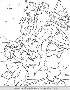 Abraham Three Angels Bible Coloring Page - TheCatholicKid.com