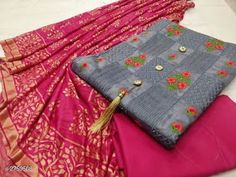 Designer Cotton Embroidery Dress Material With Dupatta from Stf Store Womens Dress Suits, Suits For Women, Cotton Silk, Printed Cotton, Dress Indian Style, Trendy Collection, Embroidery Dress, Types Of Fashion Styles, Cotton Dresses