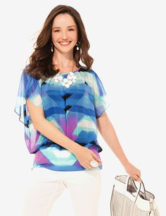 Valerie Stevens Watercolor Blouson Banded Top. Buy with We-Care.com to give a percentage to AdoptAClassroom.org!