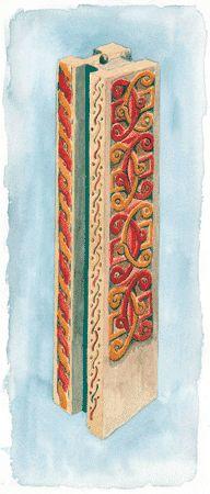 Reconstitution de la polychromie du pilier de chancel attribué au VIe. © UASD / M. Wyss.