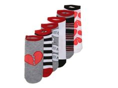 Women's Women Heart Breaker No Show Socks - 6 Pack -Grey/White/Red - Grey/White/Red