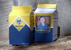 Cub Scout milk cartons--free template to make personalized 'milk cartons'.  Put awards or treats inside for a FUN presentation!