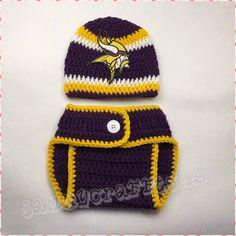 89a07b7f277 Crochet Baby Minnesota Vikings Diaper Cover Set Baby Newborn Photo Props