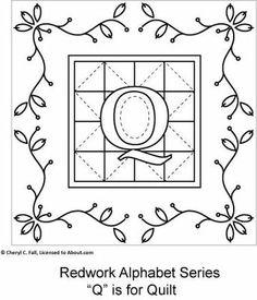 Free Redwork Alphabet Patterns O through U - Redwork Alphabet Embroidery Series Part 3