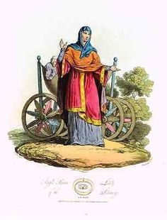 """Hill's - """"ANGLO SAXON LADY IN THE IX CENTURY"""" - Antique Print -1812"""