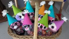 Beanie Boos with party hats