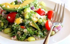 Kale, Edamame, and Quinoa Salad with Lemon Vinaigrette | Ambitious Kitchen
