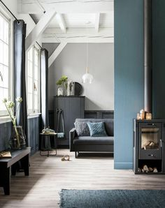 'Minimal Interior Design Inspiration' is a biweekly showcase of some of the most perfectly minimal interior design examples that we've found around the web - Apartment Interior Design, Home Interior, Interior Architecture, Blue Lounge, Living Room Grey, Home And Living, Living Room Decor, Small Living, Decor Inspiration