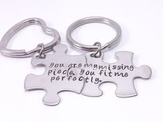 You Are My Missing Piece You Fit Me Perfectly Hand Stamped Puzzle Piece Key Chain Set by MissAshleyJewelry on Etsy, $25.00