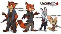 "I'm still wondering why no one have done this crossover before. They are the perfect match! ""Nick"" Wilde as Nathan ""Nate"" Drake Judy Hopps. Uncharted 4 - A Thief's End Nick Wilde, Cartoon Crossovers, Disney Crossovers, Victor Sullivan, Sam Drake, Playstation, Uncharted Series, A Thief's End, Zootopia Art"