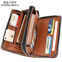 667c0cb38f67f Luxury Wallets Double Zipper Leather Male Purse Business Men Long Wallet  Designer Brand Mens Clutch Handy Bag carteira Masculina-in Wallets from  Luggage ...