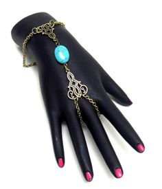 Checkout our #arrascreations product Chain Turquoise Stone Link Bracelet and Ring Set / Hand Chain Bracelet / AZFJSB090-ATU. Buy now at http://www.arrascreations.com/chain-turquoise-stone-link-bracelet-and-ring-set-hand-chain-bracelet-azfjsb090-atu.html