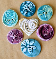 7 Handmade Ceramic Buttons - Eclectic Assortment - Heart Button, Daisy Button, Dragonfly Buttons